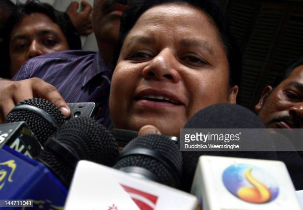 Anoma Fonseka wife of exArmy chief Sarath Fonseka speaks to journalists after her husband was granted bail at High Court on May 18 2012 in Colombo...