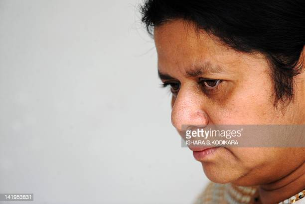 Anoma Fonseka wife of former Sri Lankan army chief and detained presidential candidate Sarath Fonseka speaks to reporters in Colombo on April 6 2010...