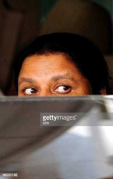 Anoma Fonseka, wife of former Sri Lankan army chief and detained presidential candidate Sarath Fonseka, leaves the court in Colombo on March 25,...