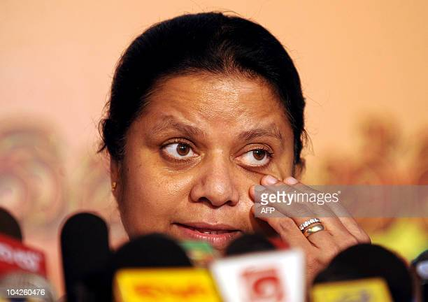 Anoma Fonseka wife of former Sri Lankan army chief Sarath Fonseka addresses media representatives at a press conference in Colombo on September 19...