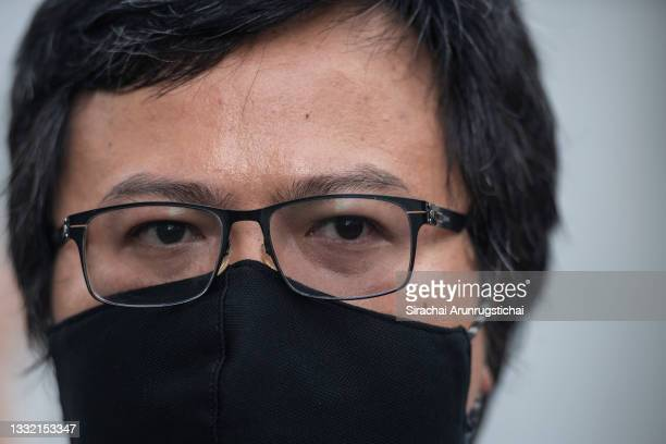 Anon Nampa, a human rights activist and a key protest leader during the Harry Potter-themed protest at Bangkok Art and Culture Center in downtown on...