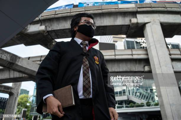 Anon Nampa, a human rights activist and a key protest leader is seen wearing wizard cloak during the Harry Potter-themed protest at Bangkok Art and...