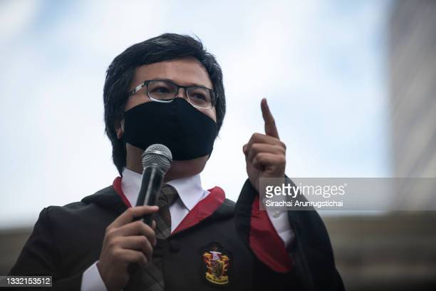 Anon Nampa, a human rights activist and a key protest leader is seen wearing wizard cloak, while giving speech during the Harry Potter-themed protest...