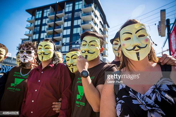 Anonymous activists meet in inner Brisbane wearing Guy Fawkes masks an item that has been banned during the G20 Summit ahead of the Peoples' March on...