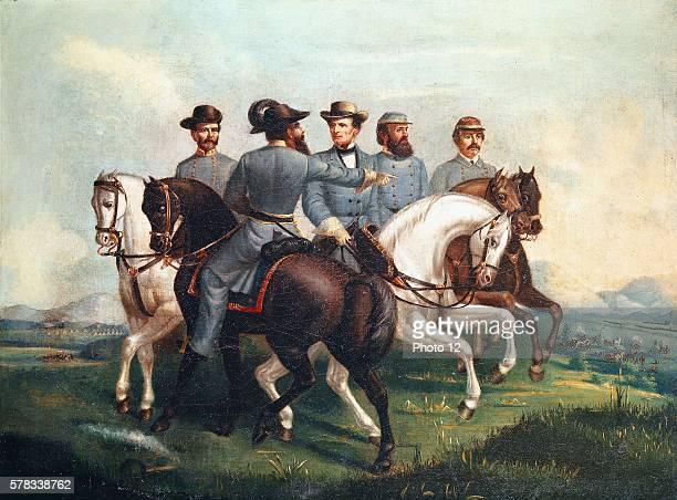 Anonymous American school Confederate Generals after the first battle of Bull Run Jefferson Davis P G Beauregard Stonewall Jackson Jebs Stuart and...