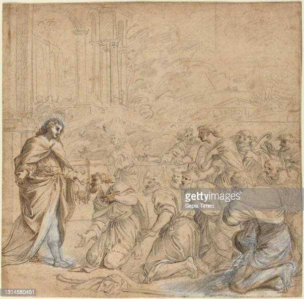 Anonymous Artist, , Pier Francesco Mola, , Italian, 1612 - 1666, Joseph Revealing Himself to His Brothers in Egypt, c. 1655, black chalk and pen and...