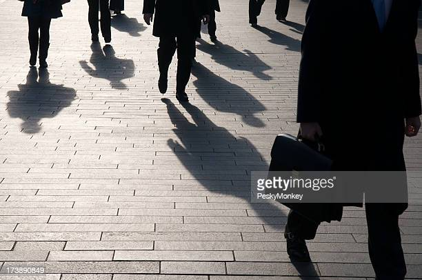 Anonymous Businessman Commuter Shadows with Copy Space