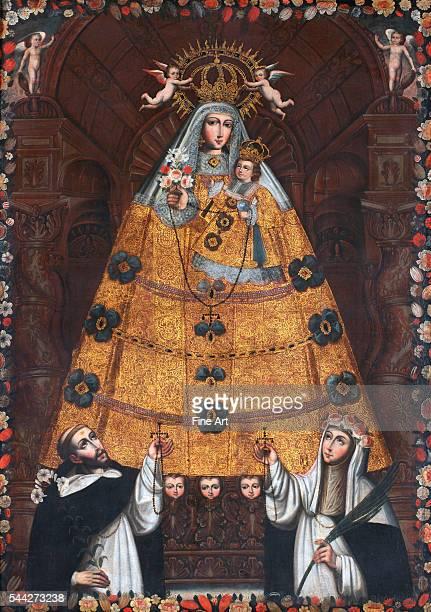 Anonymous Cusco School Our Lady of the Rosary with Saint Dominic and Saint Rose c 1750 214 x 151 cm Museo de Arte de Lima Peru