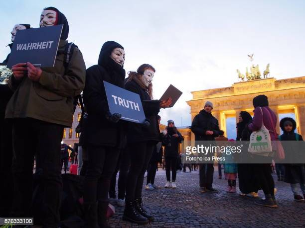 'Anonymous for the Voiceless' activists held a demonstration at Brandenburg Gate asking to stop cruelty against animals
