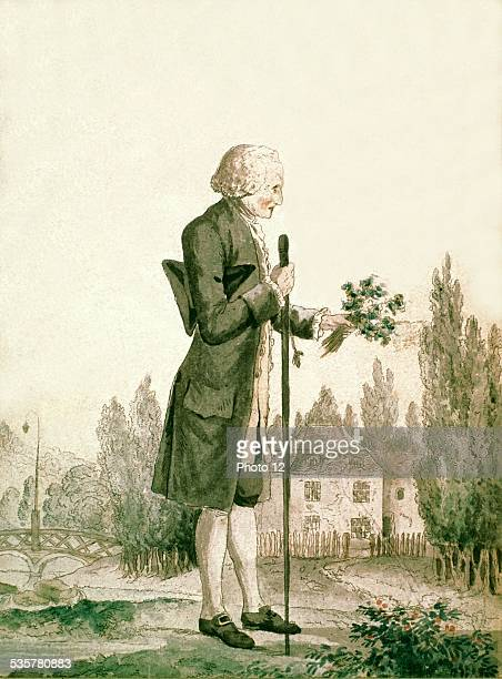 Anonymous JeanJacques Rousseau collecting plants in Ermenonville 18th century France