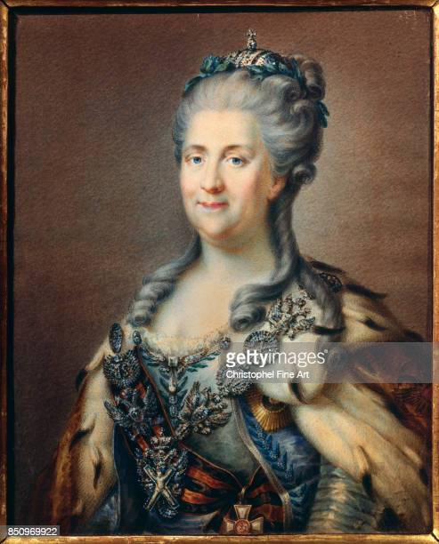 Anonymous Portrait of Catherine the Great Wearing the Chain of the Order of Saint Andrew and the Cross of Saint George Paris Musee De La Legion D...