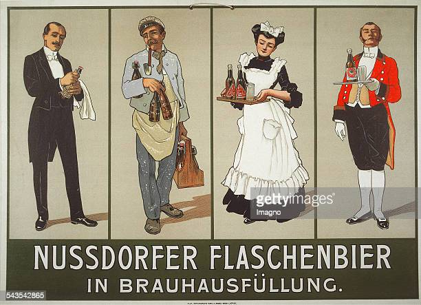 Anonymous Poster for Nußdorfer bottles beer in brewery filling About 1905 Colour lithograph Printing Emil M Engel / Vienna
