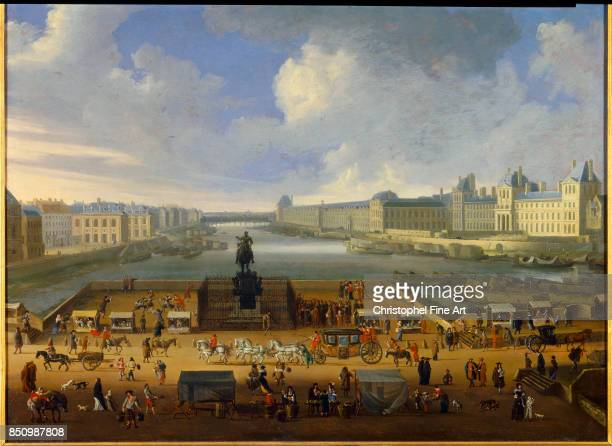 Anonymous The PontNeuf from the entrance of the place Dauphine the quai Malaquais with the College des QuatreNations Oil on canvas 068 x 088 m Paris...