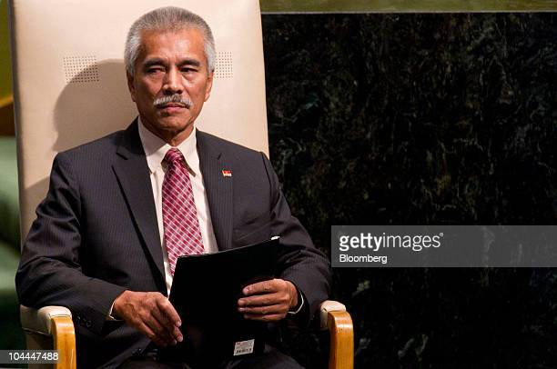 Anote Tong president of Kiribati arrives to speak during the 65th annual United Nations General Assembly at the UN in New York US on Saturday Sept 25...