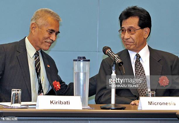 Anote Tong President of Kiribati smiles with Emanuel Manny Mori President of Micronesia during the Pacific Islands leaders meeting on water and...
