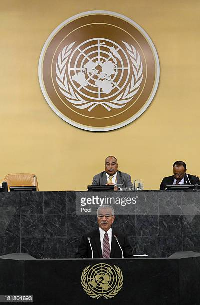 Anote Tong President of the Republic of Kiribati addresses the 68th session of the General Assembly at United Nations headquarters on September 25...