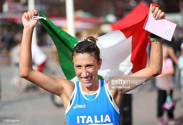 Anotella Palmisano of Italy celebrates third place in the Women's 20km Walk Race during The European Athletics U23 Championships 2013 in The Market...