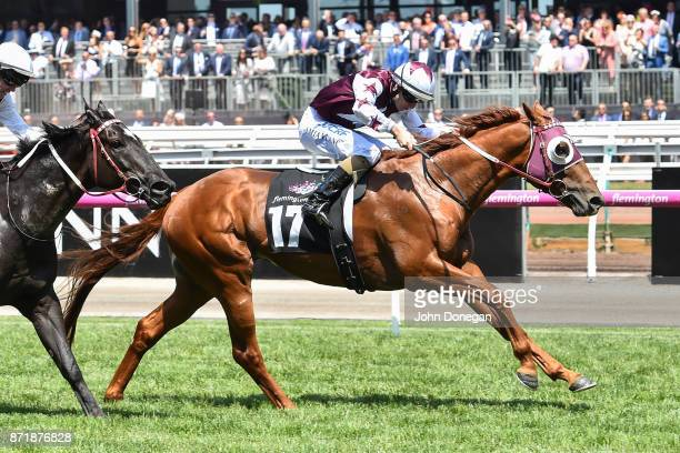 Another Coldie ridden by Damian Lane wins the Melbourne Cup Carnival Country Final at Flemington Racecourse on November 09 2017 in Flemington...