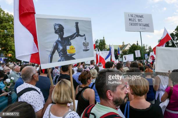 Another day of protests against government plans for sweeping changes to Polands judicial system Krakow Poland on 18 July 2017