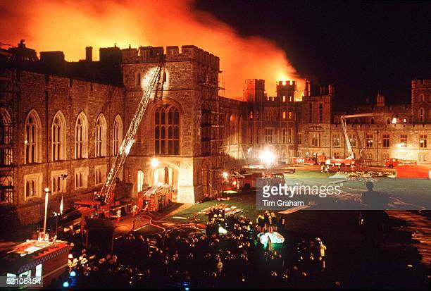 "Another Disaster In The Queen's ""annus Horribilis"" When A Fire Broke Out At Windsor Castle - A Tragedy Damaging More Than 100 Rooms."