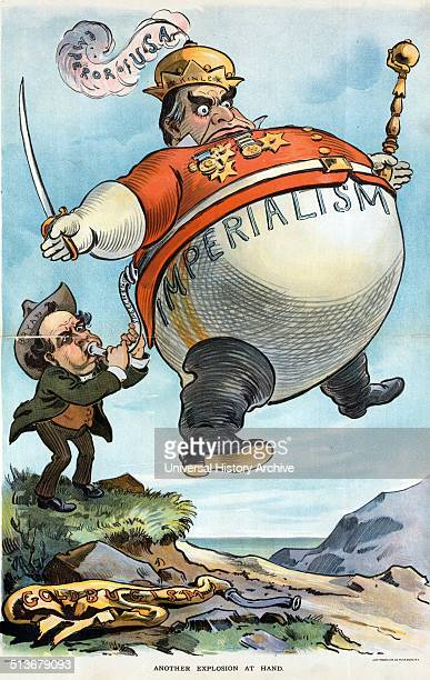 Another explosion at hand' William Jennings Bryan using the hotair from his speeches to inflate a large balloon labelled Imperialism of President...