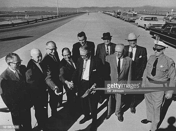 OCT 15 1965 OCT 17 1965 Another Interstate 70 Link Completed Bill McNichols Denver manager of public works snips the ribbon at ceremonies Friday...