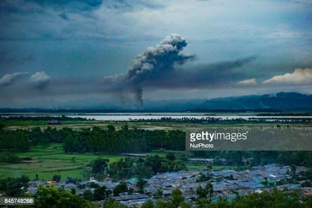 Another spot of burning houses in maugdaw district in Myanmar on 10 September 2017 Few of houses of rohingya muslims locates at Maungdaw district in...