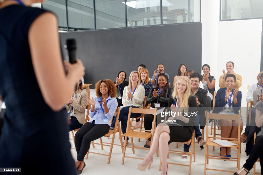 Another successful seminar in the bag : Stock Photo