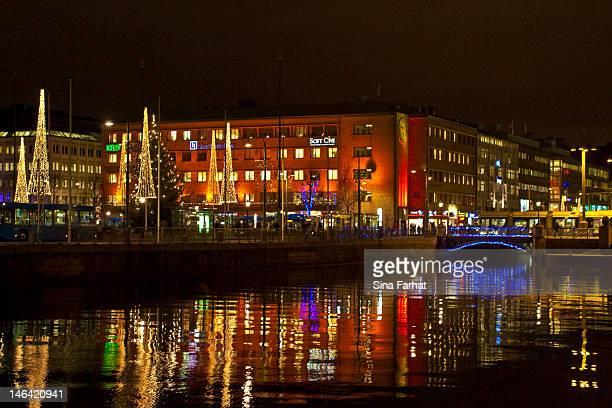 another view of gothenburg at night - ヨーテボリ ストックフォトと画像