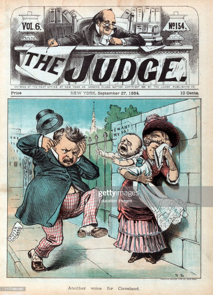 """""""Another Voice for Cleveland"""", Political Cartoon featuring, US President Grover Cleveland with Woman Holding Crying Baby"""", artwork by Frank Beard, Judge Magazine, September 27, 1884 : News Photo"""