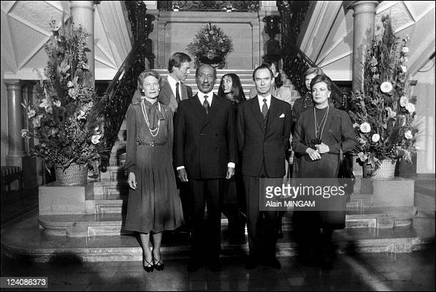 Anouar El Sadate at the european parliament with Grand Duke and Grand Duchess in Luxembourg on February 09 1981