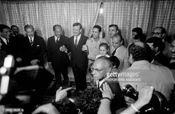 Anouar elSadate Mouammar Kadhafi et Hafez elAssad lors d'une conférence tripartite à Damas le 18 aout 1971 Syrie