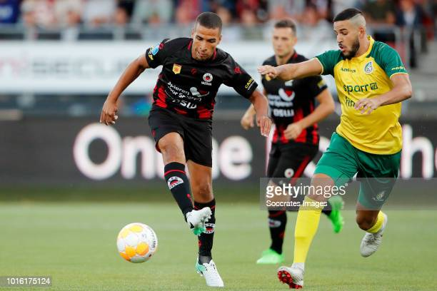 Anouar Hadouir of Excelsior Ahmed El Messaoudi of Fortuna Sittard during the Dutch Eredivisie match between Excelsior v Fortuna Sittard at the Van...