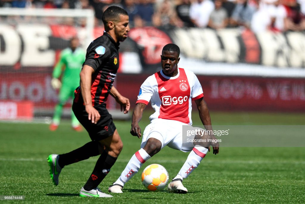 Anouar Hadouir of Excelsior, Azor Matusiwa of Ajax during the Dutch Eredivisie match between Excelsior v Ajax at the Van Donge & De Roo Stadium on May 6, 2018 in Rotterdam Netherlands