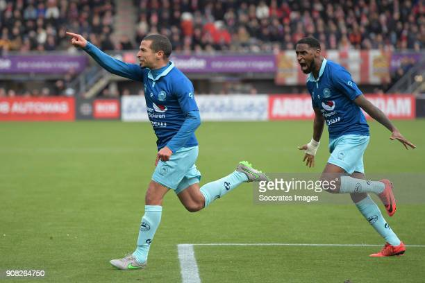 Anouar Hadouir of Excelsior celebrates 2-3 with Jeffry Fortes of Excelsior, during the Dutch Eredivisie match between Sparta v Excelsior at the...