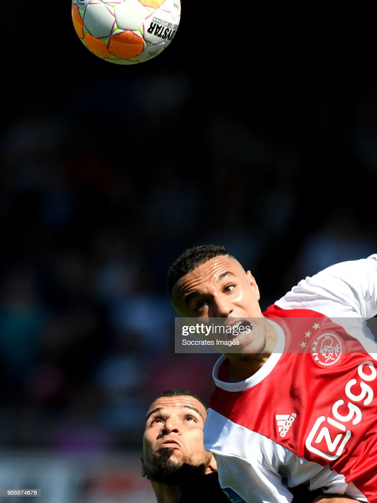 Anouar Hadouir of Excelsior, Noussair Mazraoui of Ajax during the Dutch Eredivisie match between Excelsior v Ajax at the Van Donge & De Roo Stadium on May 6, 2018 in Rotterdam Netherlands