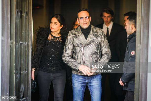 Anouchka Delon and Anthony Delon are seen outside Elie Saab during Paris Fashion Week Womenswear Fall/Winter 2018/2019 on March 3 2018 in Paris France