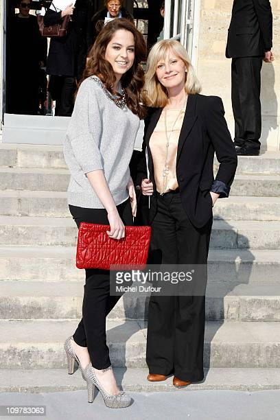 Anouchka Delon and Elisa Servier arrive the Christian Dior Ready to Wear Autumn/Winter 2011/2012 show during Paris Fashion Week at Musee Rodin on...