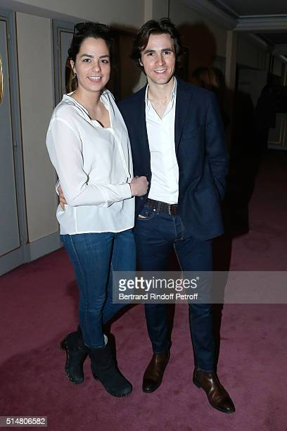 Anouchka Delon and her companion Julien Dereims attend the Prix du Brigadier 2015 Held at Comedie des Champs Elysees on March 11 2016 in Paris France