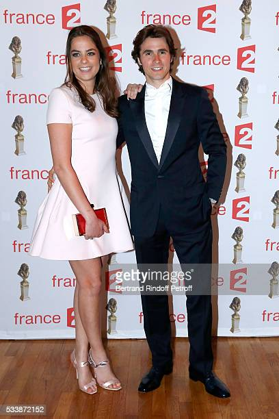 Anouchka Delon and her companion Nominated for 'Moliere de la Revelation masculine' for Libres sont les papillons Julien Dereims attend 'La 28eme...
