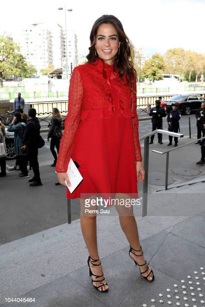 Anouchka Delon arrives at the Giambattista Valli show as part of the Paris Fashion Week Womenswear Spring/Summer 2019 on October 1 2018 in Paris...