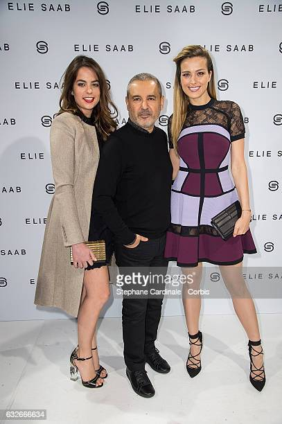Anouchka Delon Fashion designer Elie Saab and Petra Nemcova pose Backstage after the Elie Saab Spring Summer 2017 show as part of Paris Fashion Week...