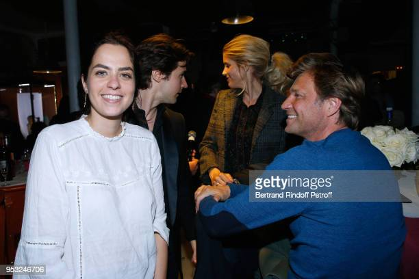 Anouchka Delon Julien Dereins Alice Taglioni and Laurent Delahousse attend the Dinner in honor of Nathalie Baye at La Chope des Puces on April 30...