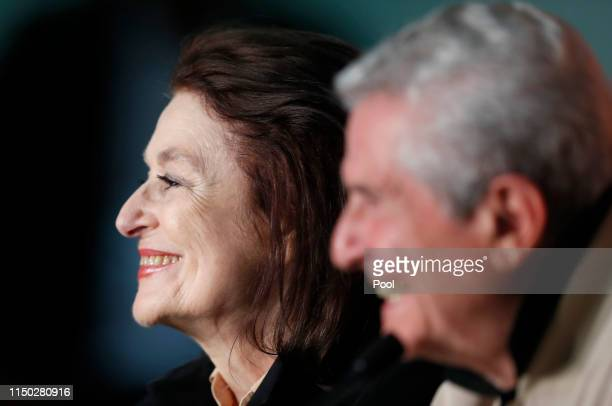"""Anouck Aimee and director Claude Lelouch attend the """"The Best Years of a Life """" press conference during the 72nd annual Cannes Film Festival on May..."""