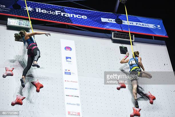 Anouck Jaubert of France and Iuliia Kaplina of Russia during the World Championship Final Climbing at AccorHotels Arena on September 18 2016 in Paris...