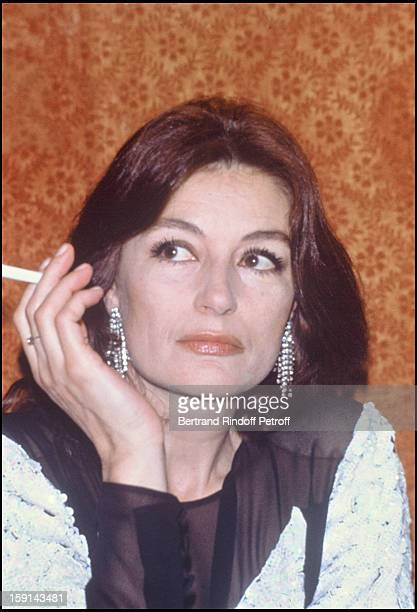 Anouk Aimee attends a party organized by Manuela Papatakis in Paris