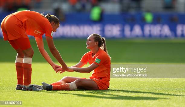 Anouk Dekker and Desiree Van Lunteren of the Netherlands during the 2019 FIFA Women's World Cup France group E match between Netherlands and Canada...