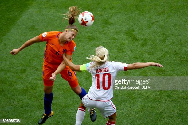 Anouk Dekker and Pernille Harder of Denmark go up for a header during the UEFA Women's Euro 2017 Final between Denmark and Netherlands at De Grolsch...