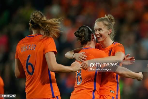 Anouk Dekker of Holland Women Sherida Spitse of Holland Women Vivianne Miedema of Holland Women celebrates 10 during the World Cup Qualifier Women...