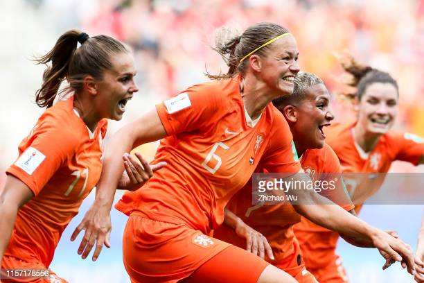 Anouk Dekker of Netherlands celebrates her scoring by head shot during the 2019 FIFA Women's World Cup France group E match between Netherlands and...